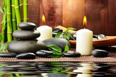massage candles and stones
