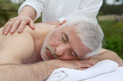 massage for the elderly - smile of their clients